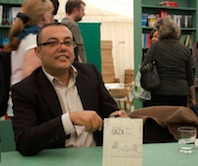 Atef Abu Saif signing my copy of The Book of Gaza at Hay Festival